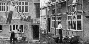 Black and white image of thwaites workmen 1947